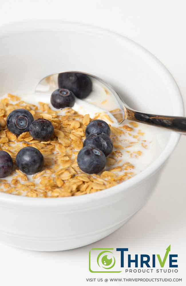 Bowl of Blueberry Granola, Thrive Product Studio's Example of Amazon Product Photography